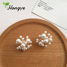 Load image into Gallery viewer, Hongye Beaded Stud Earrings with Natural Pearls Sterling Silver - SHIMOH
