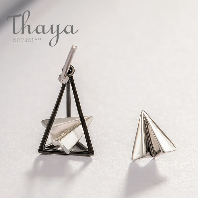 Paper Airplane Triangular 925 Silver Stud Earrings