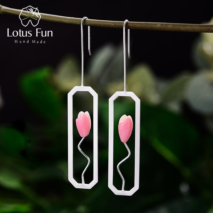 Lotus Fun Natural Shell Handmade Lily Flower Dangle Earrings Real 925 Sterling Silver - SHIMOH