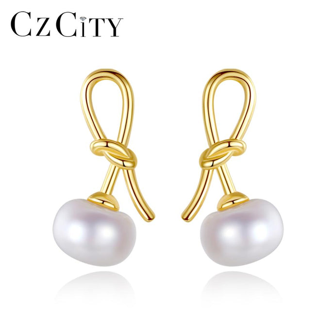 CZCITY Natural Pearl 925 Sterling Silver Bow-knot Stud Earrings - SHIMOH