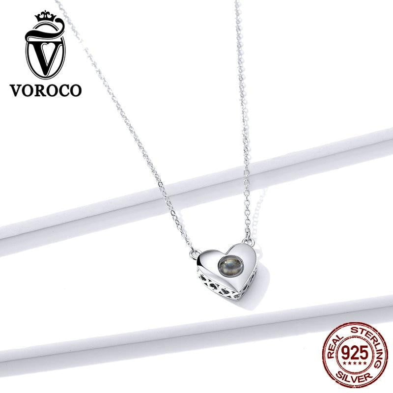 925 Sterling Silver Pendant Necklace Infinity Love language Heart - SHIMOH