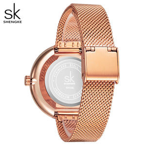 SK Women Luxury Stainless Steel Mesh Strap Watches