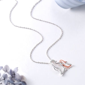 Mom rose gold and sterling silver 925 chain necklace