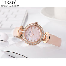 Load image into Gallery viewer, IBSO Rose Gold Rhinestone Watches with Leather band
