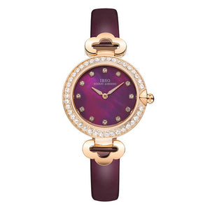 IBSO Rose Gold Rhinestone Watches with Leather band