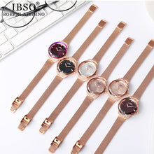 Load image into Gallery viewer, IBSO Crystal Design Quartz Watches with Stainless Steel Mesh Strap