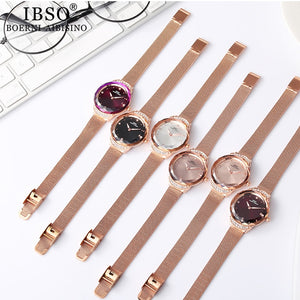 IBSO Crystal Design Quartz Watches with Stainless Steel Mesh Strap