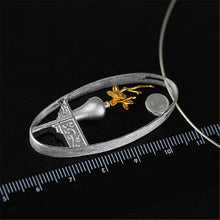 Load image into Gallery viewer, Lotus Fun 925 Sterling Silver Natural Moonstone Handmade Flower Vase Pendant without Necklace - SHIMOH