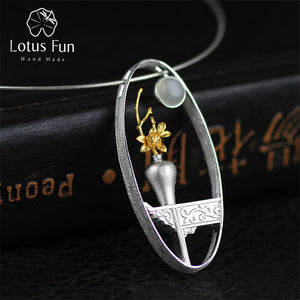 Lotus Fun 925 Sterling Silver Natural Moonstone Handmade Flower Vase Pendant without Necklace - SHIMOH