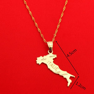 Map Of ITALIE Pendant Necklace