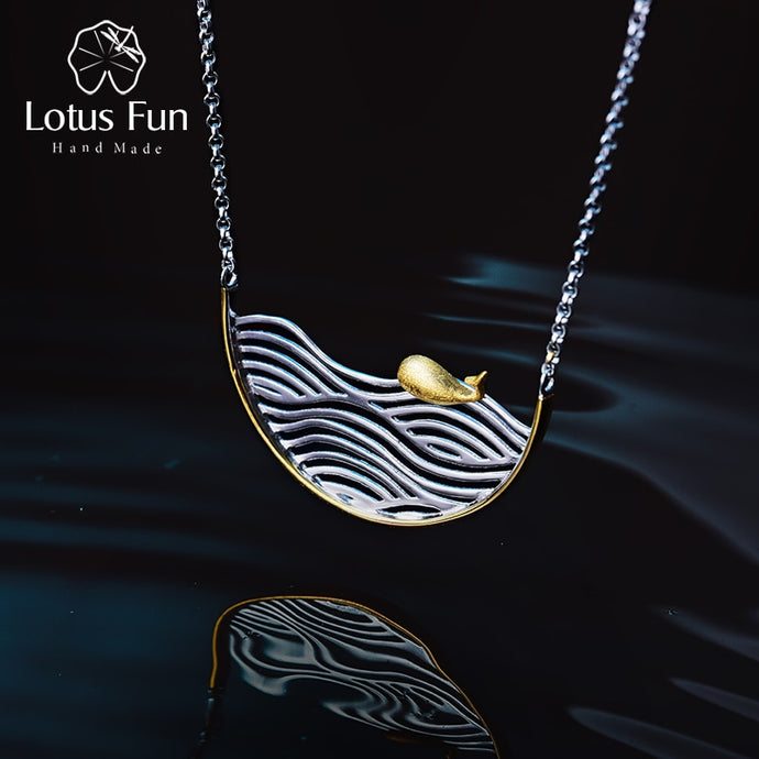 Lotus Fun Real 925 Sterling Silver Handmade Swimming Fish Necklace - SHIMOH