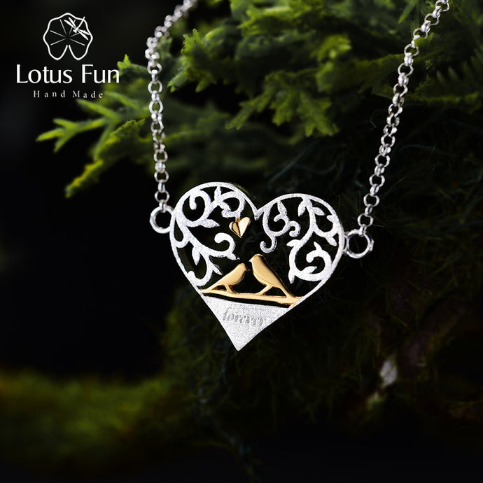 Lotus Fun Real 925 Sterling Silver Handmade Romantic Bird in Love Heart Shape Bracelet