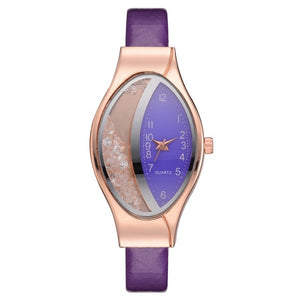 Women Ellipse Rhinestone Watches with Leather Strap