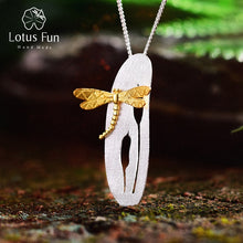 Load image into Gallery viewer, Lotus Fun Real 925 Sterling Silver Handmade Leaf and Dragonfly Design Pendant without Necklace - SHIMOH