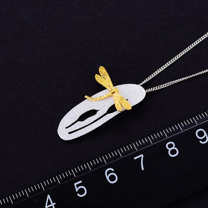Lotus Fun Real 925 Sterling Silver Handmade Leaf and Dragonfly Design Pendant without Necklace - SHIMOH