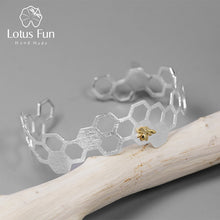 Load image into Gallery viewer, Lotus Fun Real 925 Sterling Silver Honeycomb Home Guard Bangle