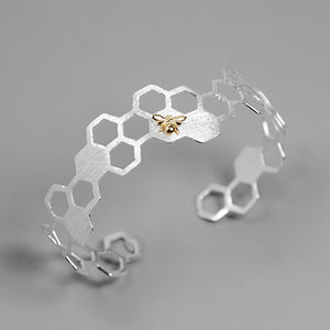 Lotus Fun Real 925 Sterling Silver Honeycomb Home Guard Bangle