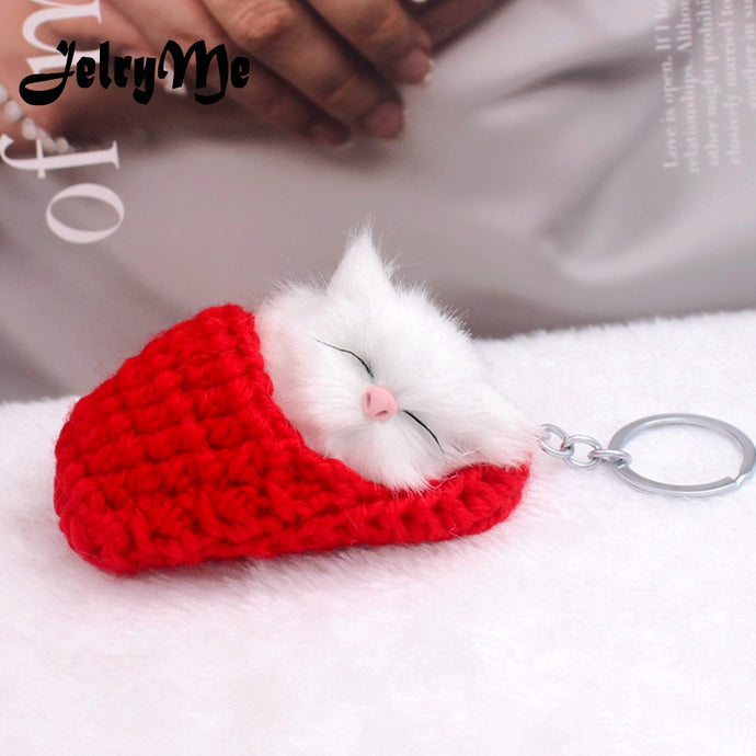 Cute Sleeping Cat Pompom Key chains