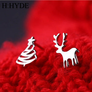 Cute Small Deer Christmas Tree Stud Earrings Xmas - SHIMOH