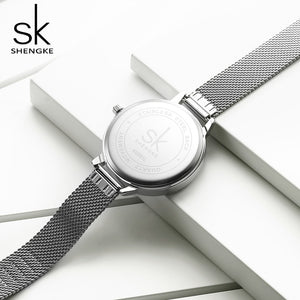 SK Women Watch Stainless Steel Mesh Band
