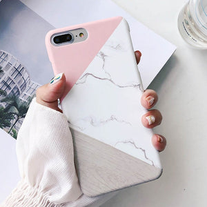 Lovebay Phone Case Geometric Splice Pattern Marble