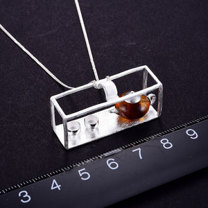 Lotus Fun Real 925 Sterling Silver Natural Amber Teapot  Pendant without Necklace - SHIMOH