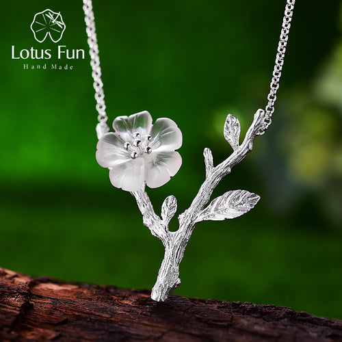 Lotus Fun Real 925 Sterling Silver Handmade Flower in the Rain Necklace