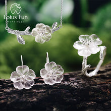 Load image into Gallery viewer, Lotus Fun Real 925 Sterling Silver Handmade Flower in the Rain Jewelry Set