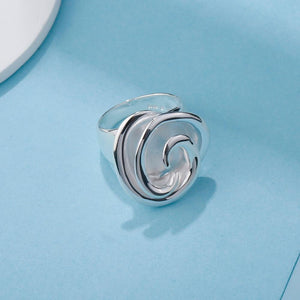 925 Sterling Silver Big Flower Rings - SHIMOH