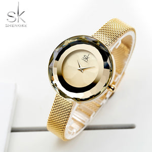 SK Women's Luxury Watch Prism Face Gold Mesh Band