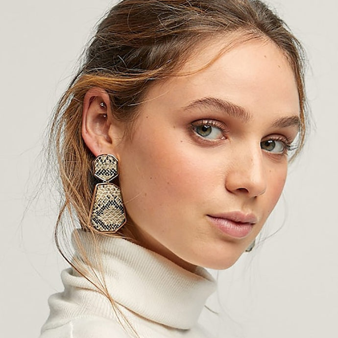 AENSOA Snake Print Leather Drop Earrings - SHIMOH