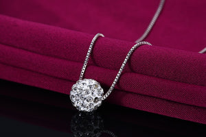crystal ball pendant with necklace S925 silver