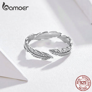 BAMOER 925 Sterling Silver Feather Adjustable Ring - SHIMOH