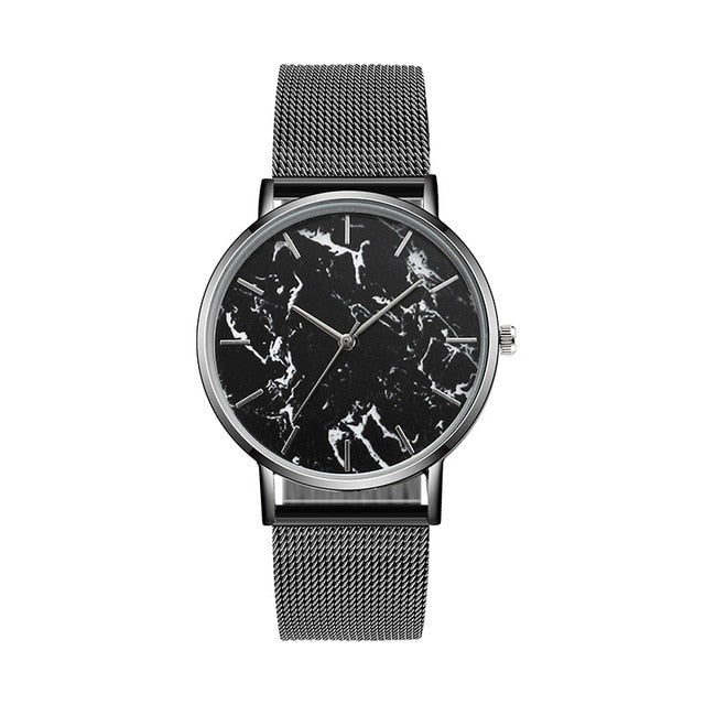 Marble Ladies Watches With Mesh Band