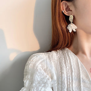Korean White Shell Flower Petal Drop Earrings - SHIMOH