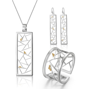 Lotus Fun Real 925 Sterling Silver Set Window Decoration Paper-cut Design