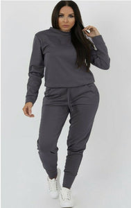 'Eniola' Fitted Long Sleeve Loungewear Tracksuit Set (Plus Size)