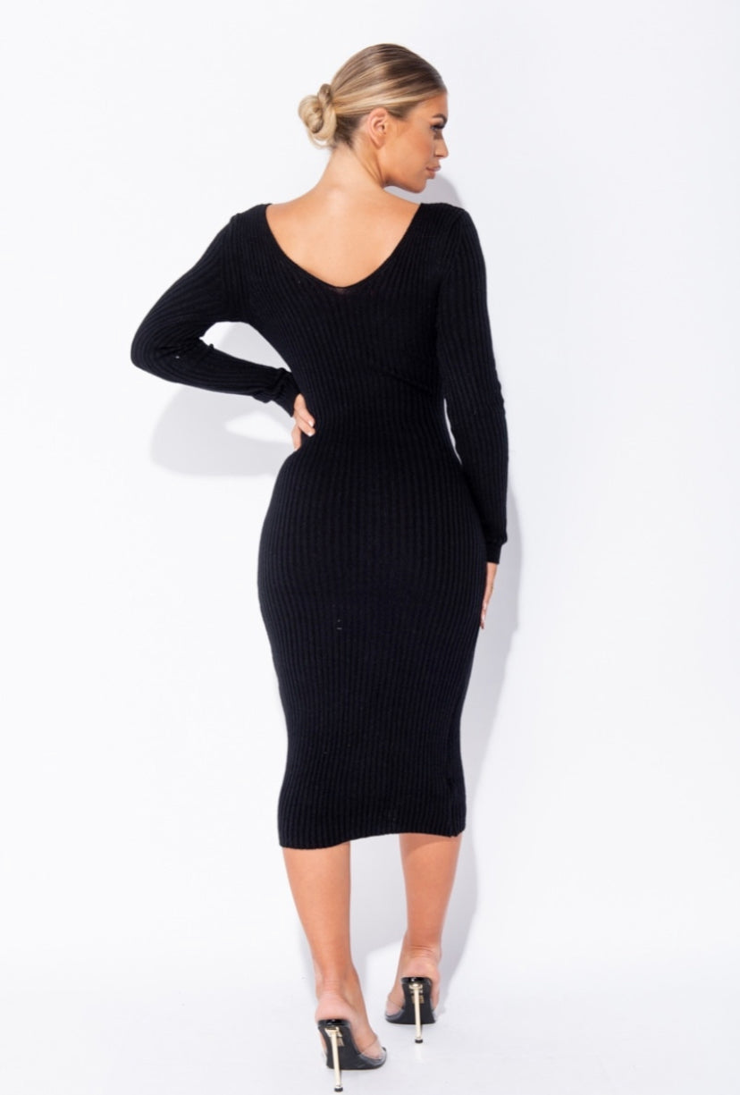 'Coco' Knitted Long Sleeve Midi Dress