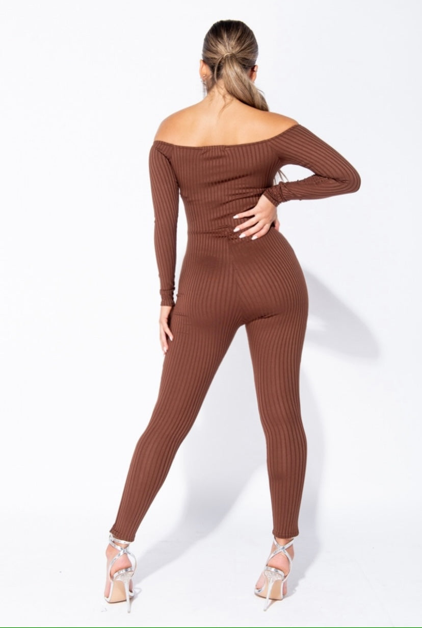 'Ajoke' Rib Knit Long Sleeve Bardot Off Shoulder Jumpsuit