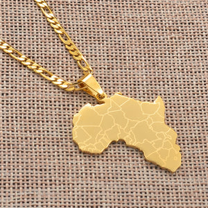 Gold Plated Africa Map Pendant Necklaces (Unisex)