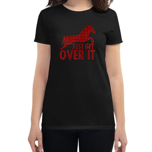 horse t shirt, black t shirt, just get over it