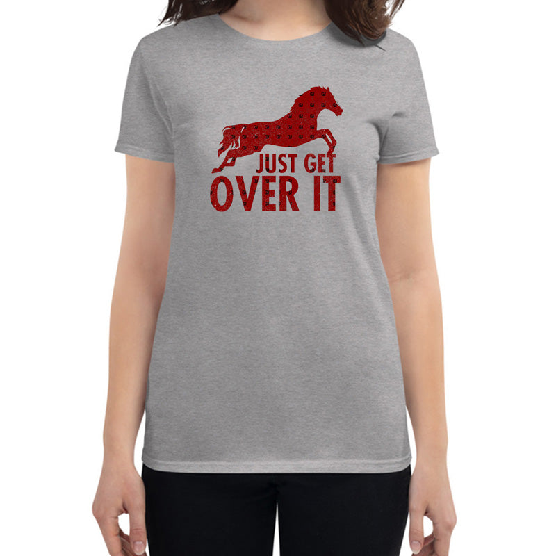 horse t shirt, gray t shirt, just get over it