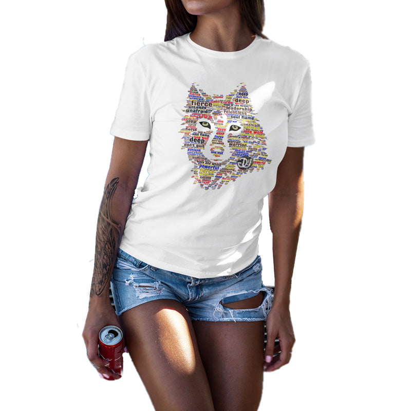 wolf t shirt, wild wolf word art, white t shirt