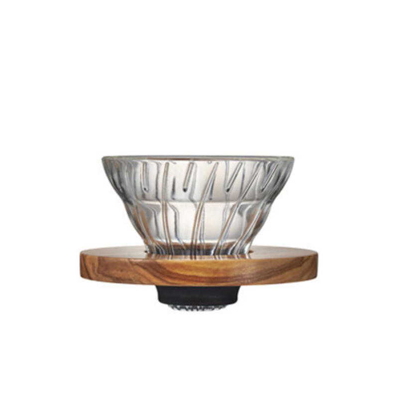 V60 Glass Dripper Olive Wood 1-2 Cups