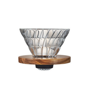 V60 Glass Dripper Olive Wood 1-4 Cups