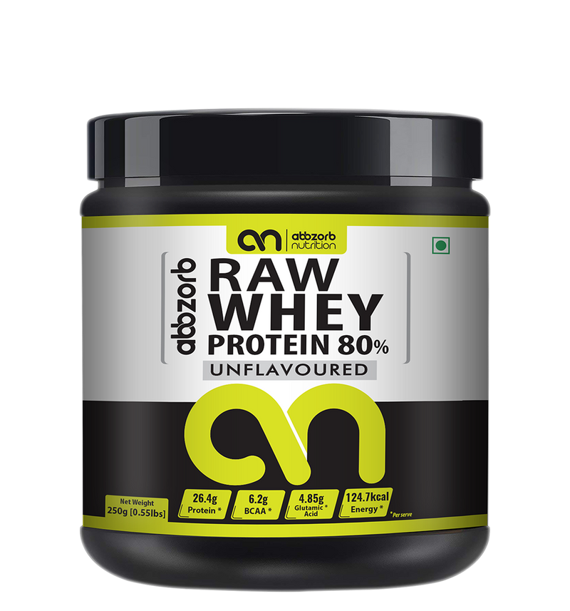 Abbzorb Nutrition Raw Whey Protein 80% (250 G Jar)