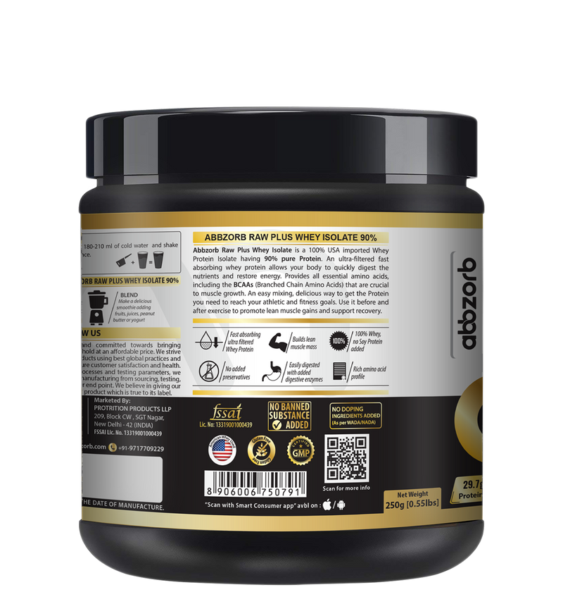 Abbzorb Nutrition Beginners Raw+ Whey Isolate 90% - 250g (Unflavoured) With Digestive Enzymes- Trial Pack