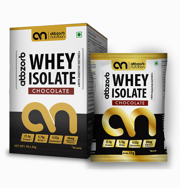 Abbzorb Nutrition Whey Isolate (Chocolate Flavour)- Travel Pack (Pack of 7)