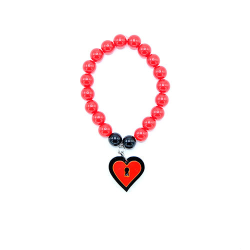 BRACCIALE MINI LOVE LOCKED NERO ROSSO - malikapeople
