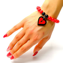 Load image into Gallery viewer, BRACCIALE MINI LOVE LOCKED NERO ROSSO - malikaforhappypeople